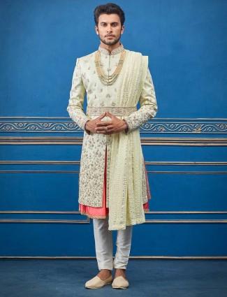 Pista green double layer silk sherwani for groom