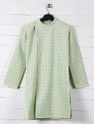 Pista green festive cotton kurta suit