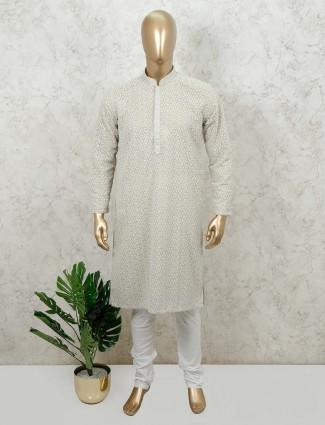Pista green festive wear cotton kurta suit