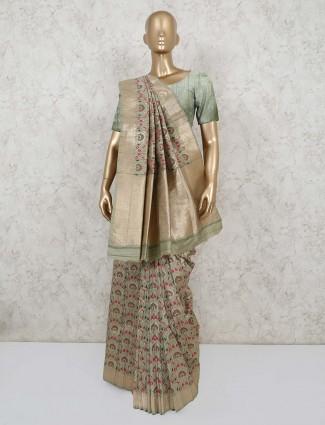 Pista green festive wear semi banarasi silk saree