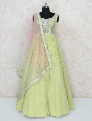 Pista green floor length designer georgette gown