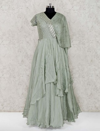 Pista green floor length designer satin gown