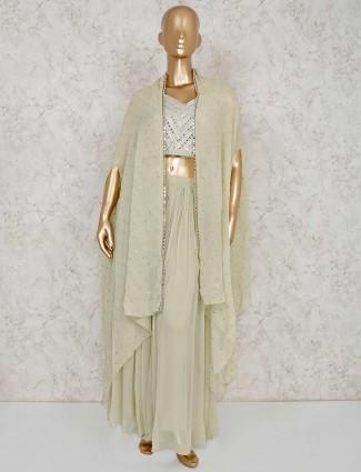 Pista green georgette designer indo western palazzo suit