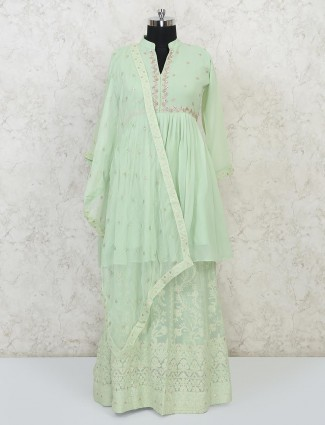 Pista green georgette lehenga suit for wedding
