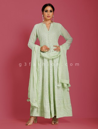 Pista green georgette party anarkali suit