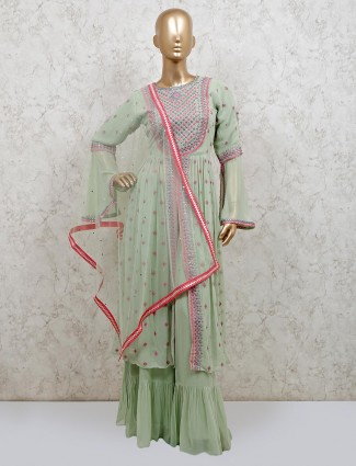 Pista green georgette punjabi sharara suit for festive days