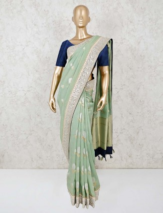 Pista green georgette saree with nice pallu