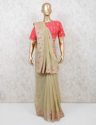 Pista green georgette saree with readymade blouse for wedding