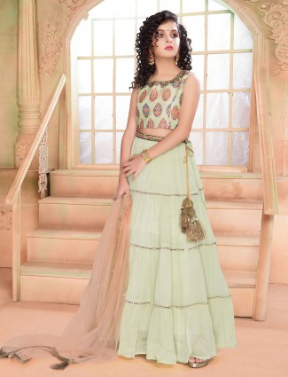 Pista green georgette wedding days lehenga choli