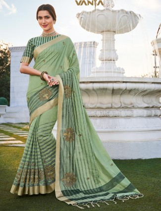 Pista green handloom saree with the striped blouse piece