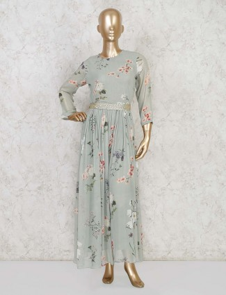 Pista green jumpsuit with floral design