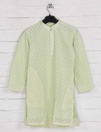 Pista green kurta suit in georgette