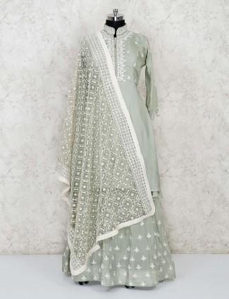 Pista green lehenga suit in cotton silk