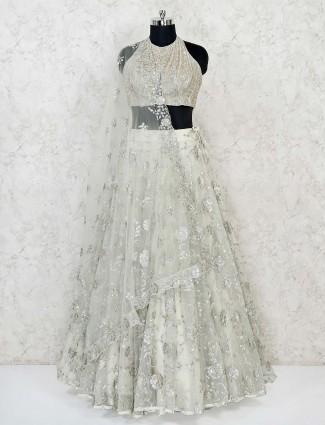 Pista green net designer wedding lehenga choli