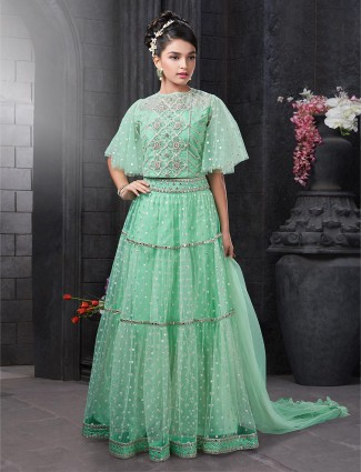 Pista green net lehenga choli ideal for wedding