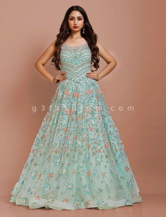 Pista green net wedding designer gown