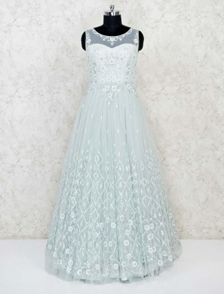 Pista green net wedding wear floor length gown