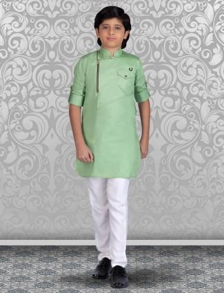 Pista green new stylish cotton kurta suit