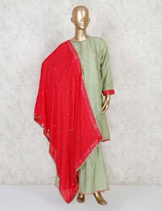 Pista green palazzo pant salwar kameez in cotton silk