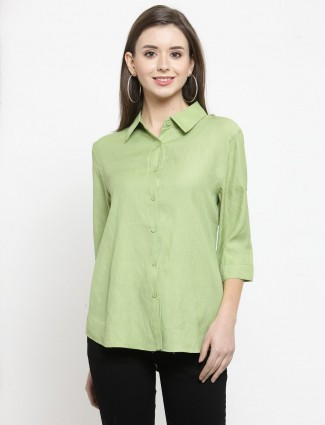 Pista green plain shirt for casual look