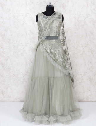 Pista green pretty gown in net fabric