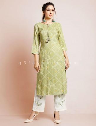 Pista green punjabi printed cotton pant suit