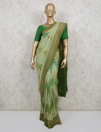 Pista green pure banarasi silk saree for weddings