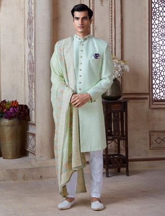 Pista green raw silk groom sherwani