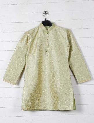 Pista green raw silk kurta suit