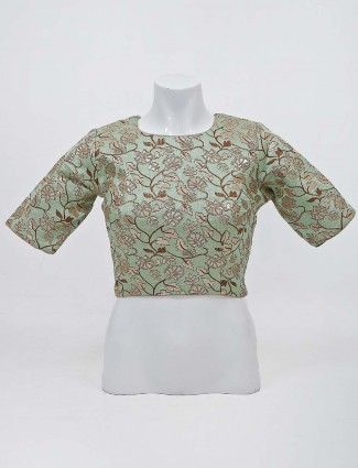 Pista green raw silk round neck readymade blouse