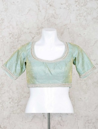 PIsta green raw silk u neck ready made blouse