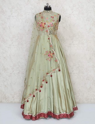 Pista green raw silk wedding gown