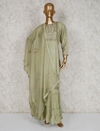 Pista green round neck cotton silk sharara suit