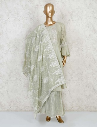 Pista green salwar kameez in cotton silk for festives