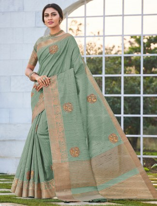 Pista green saree in handloom cotton party wear