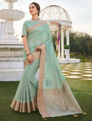 Pista green saree with the atteched blouse piece