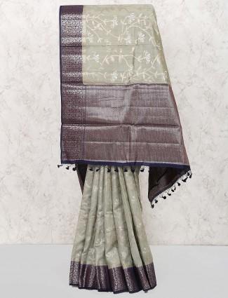 Pista green semi silk fabric festive saree