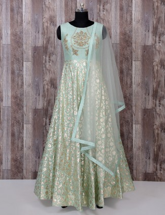 Pista green silk classic anarkali suit