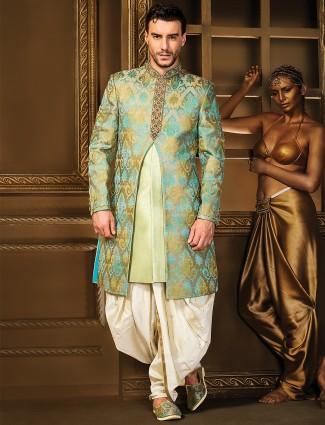 Pista green silk double layered indo western