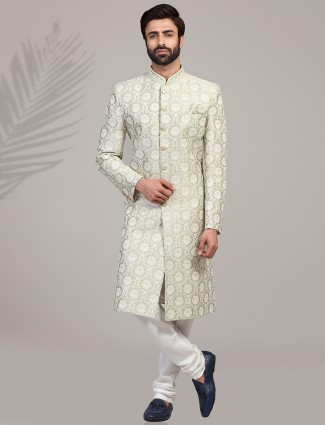 Pista green silk mens sherwani