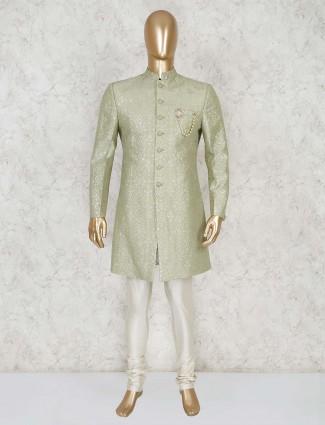 Pista green silk party wear indo western