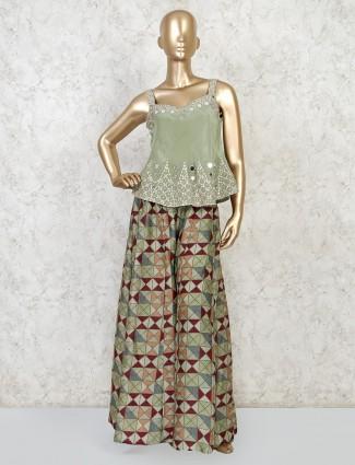 Pista green silk peplum style palazzo set