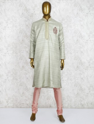 Pista green stand collar kurta suit