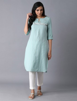 W ista green stripe cotton festive kurti