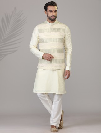 Pista green with embroidery mens waistcoat set