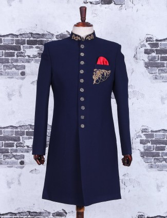 Plain alluring navy terry rayon indo western
