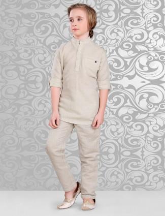 Plain beige cotton festive wear pathani suit