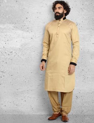 Plain beige cotton pathani suit