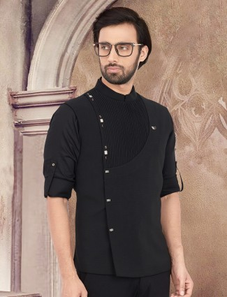 Plain black cotton stand collar waistcoat