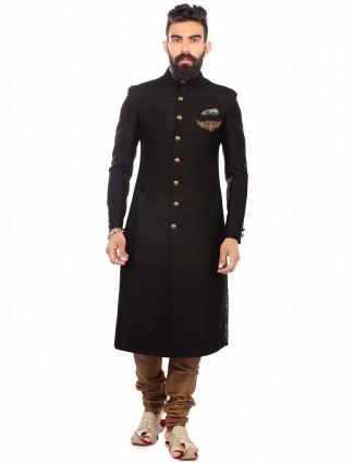 Plain black raw silk wedding wear men sherwani